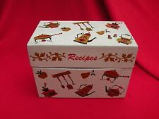 Vintage Ohio Art Company Metal Tin Recipe Box White Gold Red Index Cards File
