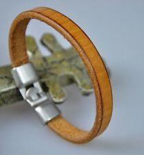 Simply Cool Single Band Genuine Leather Bracelet Wristband Men's Cuff BEIGE