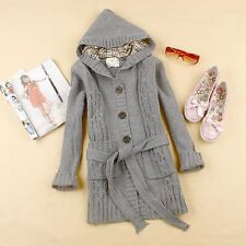 GRAY chaud Womens Hooded Cardigan Chandail Long câble Knit Tops Manteau Tricots
