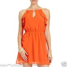 NWT bebe orange coral gold embellished neck cutout flare ruffle top dress XS 0 2