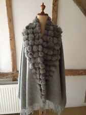 WOOL SHAWL/ WRAP/ SCARF WITH MULTIPLE FUR POM POMS IN GREY.