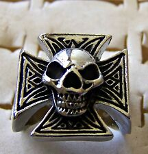 GOTHIC ~ S/STEEL ~ SIZE:8.5 ~ SCULL_ON_CROSS  ~  RING -- (GREAT_GIFT)
