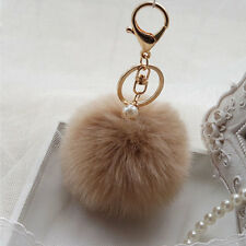 Key Chain Ring Soft Rabbit Fluffy Fur Pearl Ball Pom Phone Car Pendant Coffee