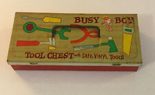 Vintage Ohio Art Busy Boy Tin Tool Box Chest With Two Plastic Tools