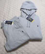POLO RALPH LAUREN JOGGER HOODIE SWEATPANTS SET SIZE SMALL GRAY W/BLUE PONY NWT