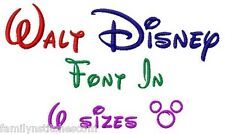 Walt Disney Font Machine Embroidery Designs on CD in 6 sizes Family N Stitches