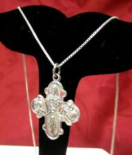 "THEDA VINTAGE 925 STERLING SILVER CATHOLIC HOLY CROSS PENDANT NECKLACE 16"" LONG!"