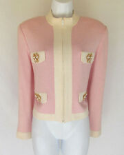 ST. JOHN KNIT JACKET BLAZER MEDIUM PINK WHITE GOLD ENAMEL BUTTERFLIES
