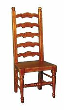 DOLLS HOUSE 1/12th SCALE OAK/WALNUT LADDER-BACK CHAIR
