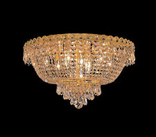 "World Capital Empire 20"" 9 Light Flush Mount Crystal Chandelier Lighting Gold"