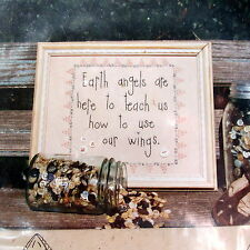 "Embroidery PATTERN quote words earth angels .....teach to use our wings 7""x7"""