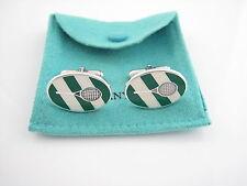 Tiffany & Co RARE Green White Enamel Tennis Racket Cuff Link Cufflinks Cufflink!