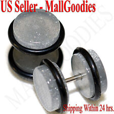 2076 Metallic Gray Fake Cheater Illusion Faux Ear Plugs 16G Bar 00G = 10mm 2pcs