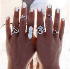 6pc Silver Boho Vintage Stack Plain Above Knuckle Ring Midi Finger Tip Rings Set
