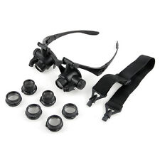 10x 15X 20X 25X LED Double Eyes Watch Jeweler Repair Glasses Magnifier Loupe New