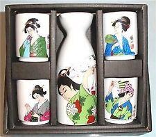 Japanese Geisha Sake Set Bottle Cup Kafuh Japan #mt8-w S-1685