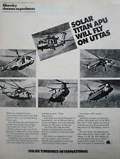 8/1977 PUB SOLAR TURBINES TITAN APU SIKORSKY UH-60A UTTAS SKYCRANE ORIGINAL AD