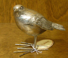 """BIRD Figurine #W7564 Silver Look from Transpac, NEW From Retail Shop 4.5"""" high"""