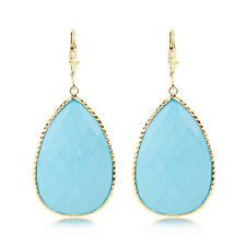 14K Yellow Gold Gemstone Earrings With Pear Shaped Turquoise Dangle