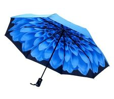 Galleria Double Cover Blue Dahlia Floral Automatic Open Close Folding Umbrella