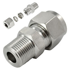 "1/2"" NPT x6MM Double Ferrule Tube Fitting Male Connector NPT Stainless Steel 304"
