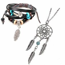 INDIAN DREAMCATCHER FEATHER PENDANT NECKLACE + BROWN LEATHER TRIBAL BRACELET
