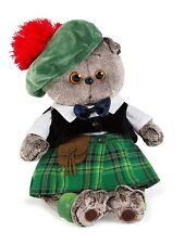 "Scottish Fold Kitty Cat and Highland Costume Plush Stuffed Soft Toy 11.8"" Basik"