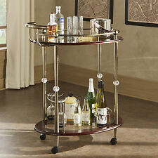 Metropolitan Brown Gold Metal Mobile Bar Cart with Glass Top by INSPIRE Q