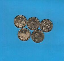 Lot de 5 médailles Marseille, Vieux Port, Gare St Charles, Fontaine Cantini. etc