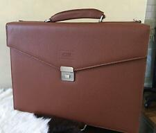 NWT Armani Collezioni Hard Side Pebbled Brown Leather Attache Briefcase bag