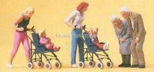 H0 Preiser 10493 Mütter, Kinder mit Kinderwagen Figuren