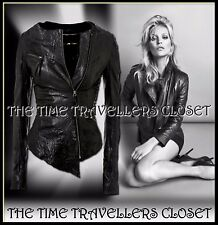 KATE MOSS TOPSHOP BLACK ICONIC CRINKLE ASYMMETRIC LEATHER BIKER JACKET UK 14 42