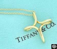Tiffany & Co 18K Yellow Gold Peretti Cross Infinity Necklace 16 Inches