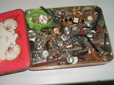 COLLECTION 3 LBS 34 WOMENS WATCHES WORKING AND NOT WORKING IN TIN BOX