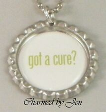 "MENTAL HEALTH DEPRESSION Awareness Lime ""got a cure?"" Bottle Cap Necklace 24"""
