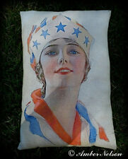 Patriotic 4th of July vintage flag lady liberty pillow American dress statue