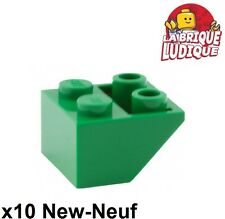 Lego - 10x slope inverted brique brick pente 45 2x2 vert/green 3660 NEUF