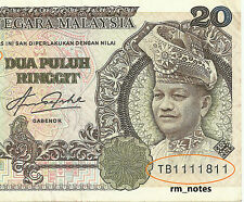 """MALAYSIA  RM20 Blindman Series Almost Solid TB1111811  """"VF+"""""""