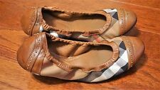 Burberry WN's nova check/ leather/ canvas studded ballet flats, size: 38 (7.5US)