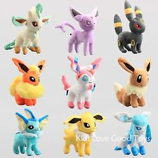 9X Pokemon Evolution of Eevee Umbreon Espeon Sylveon Plush Doll Toy Eeveelution