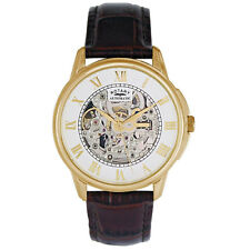 Mens Rotary skeleton automatic brown leather strap watch GS03862/01