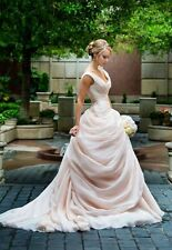 Fairy Tale Wedding Dresses Light Pink Sleeveless Bridal Gowns Custom Made 2016