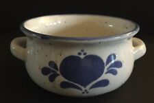 Handmade ONCE 1986 Pottery Glazed Mixing  Small Bowl Hand Painted Heart Blue