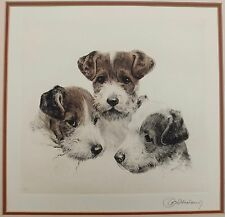 "Signed Kurt Meyer-Eberhardt ""Three Rascals"" Copper Etching Of Fox Terriers"