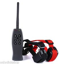 Waterproof 1000 Yard 2 Dog Electric Shock Training Collar Remote Rechargeable US