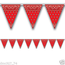 1 WESTERN Cowboy Farm Party Decoration RED BANDANA Print Pennant FLAG BANNER