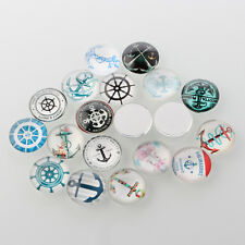 10 Helm & Anchor 12mm Printed Half Round Domed Glass Cabochons (BOX124)