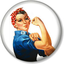 """Rosie The Riveter 1"""" Pin Button Badge From The WW2 We Can Do It Poster Feminist"""