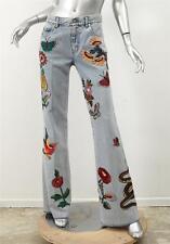 GUCCI 2017 *CURRENT* Floral Patch Applique Flare Wide-Leg Denim Jeans 26 NEW