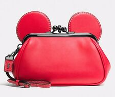 Coach bag pocketbook Disney Mickey Mouse Kisslock Red leather Wristlet 65794